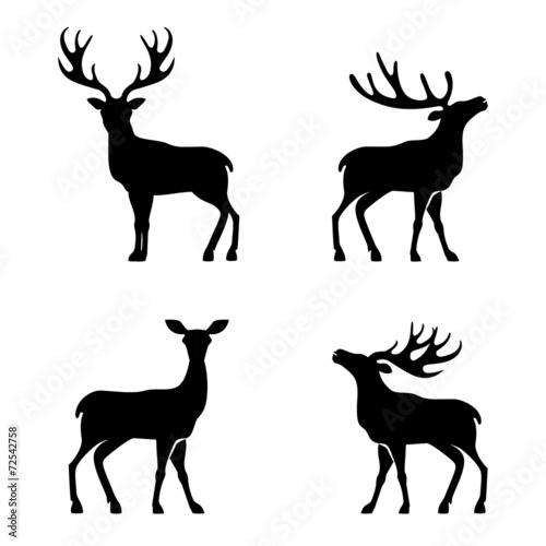 Kolekcja jelenia - sylwetka wektor