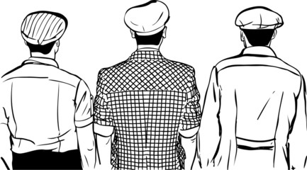sketch of three men in caps turned back