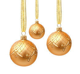 Hanging golden christmas balls with ribbon isolated