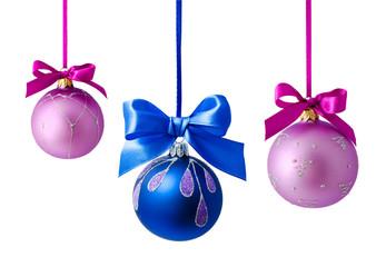 Hanging christmas balls isolated