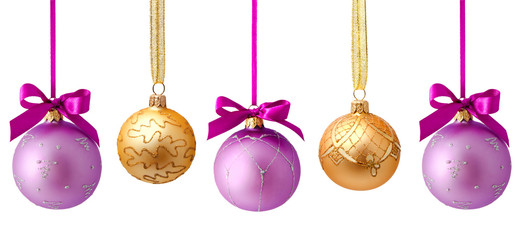 Hanging christmas balls isolated