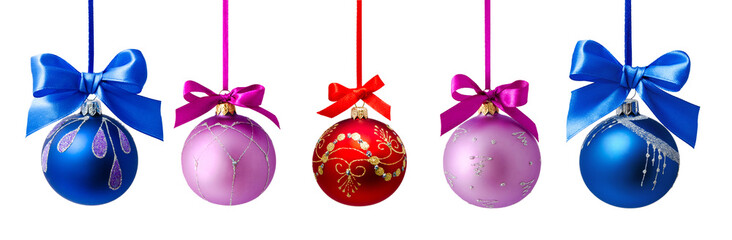 Christmas balls with ribbon isolated
