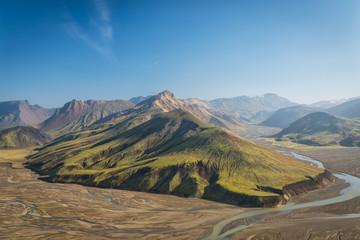 Aerial view of beautiful landscape in Landmannalaugar, Iceland.