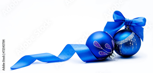 canvas print picture Two blue christmas ball with ribbon isolated