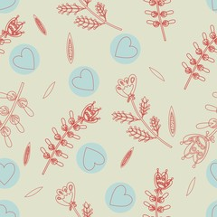 the seamless pattern with hearts and flowers linear design