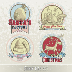 set of Christmas emblems and designs