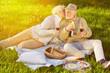 Frau gibt Mann einen Kuss beim Picknick