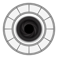 camera lens with film strip round frame