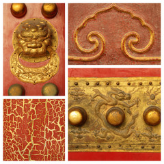 antique chinese decorative details collage, Forbidden City