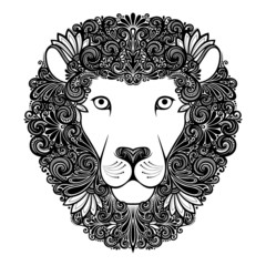 Vector Decorative Lion with Patterned Mane