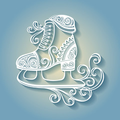 Beautiful Ornate Winter Skates (Vector), Patterned design