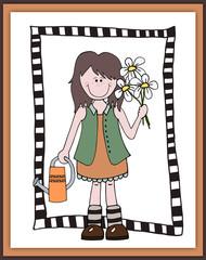 Little cartoon girl gardener in frame