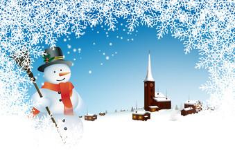 Winterlandschaft, Schneemann, Stimmung, winterlich, Frost, Eis
