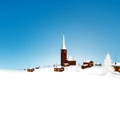 Winterlandschaft, Bergdorf, Dorf, verschneit, Grußkarte, Vorlage