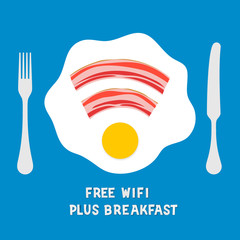 Free wifi area sign on a plate with fried egg
