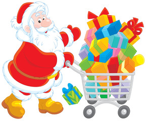 Santa Claus with a shopping cart of Christmas