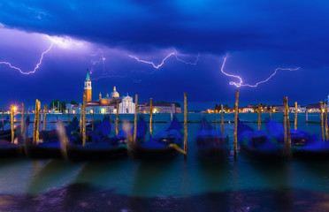 Thunderstorm with lightning on Grand Canal in Venice, Italy