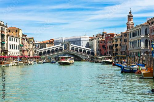 Rialto bridge and Grand Canal in Venice. Italy