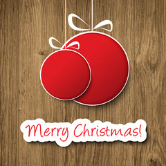 Christmas ball decoration on wooden background