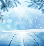 Fototapety christmas  winter background with wooden planks