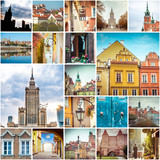 Fototapety Collage of photos from Warsaw