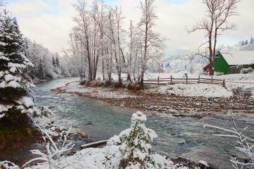 winter landscape in the carpathians mountains. Vorokhta, Ukraine