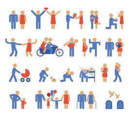 Assortment of Family and Couple Pictogram Icons