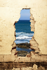 Dilapidated ocean view.