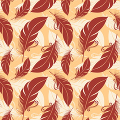 Seamless Pattern with Feathers (Vector)