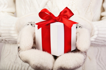 Christmas gift with red ribbon