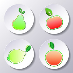 Vector set of fruit icons, stickers