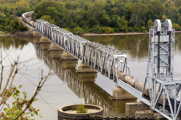 freight train crossing Wabash Bridge, Hannibal, Missouri