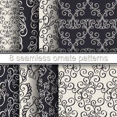 Vector Set of 8 Seamless Ornate Patterns. Hand Drawn Vintage Tex