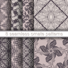 Vector Set of 8 Seamless Ornate Patterns. Hand Drawn Vintage Tex