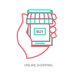 mobile shopping button, line design