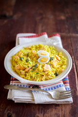 Traditional Scottish dish kedgeree served for breakfast