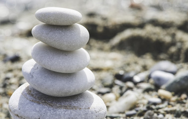 Stacked sea stones