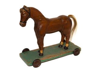 altes antikes Pferd auf Rollen