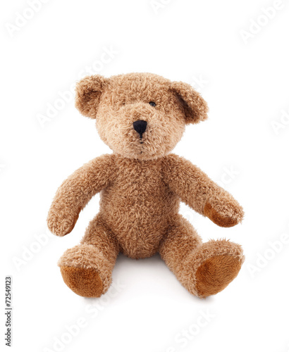 Brown teddy bear on white background - 72549123