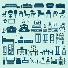 icons set interior collection-silhouettes