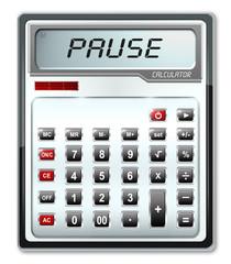 Taschenrechner, Display - Mitteilung Pause, freigestellt