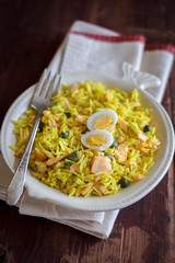 National scottish dish kedgeree with roasted basmati rice