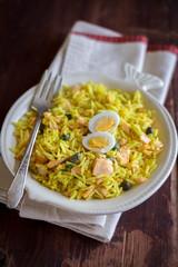 National scottish dish kedgeree with roasted basmati rice