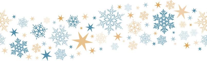 Seamless snowflake, star border