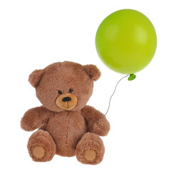 a toy bear with a balloon