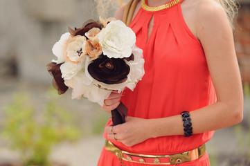 Bridesmaid with Wedding Textile Bouquet