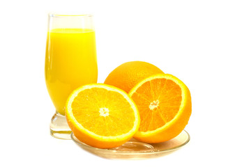 Glass of orange juice and oranges together.