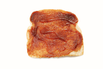 Slice of Toast with Apple Butter Spread on it