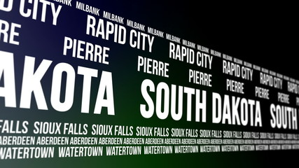 South Dakota State and Major Cities Scrolling Banner