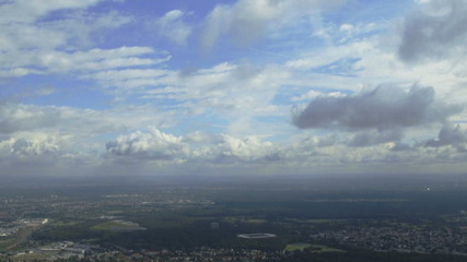 landscape of frankfurt seen from helicopter